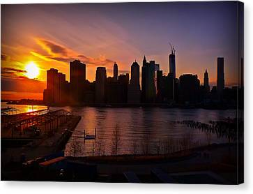 New York Skyline Sunset -- From Brooklyn Heights Promenade Canvas Print by Mitchell R Grosky