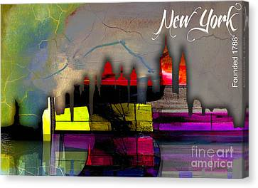 New York New York Canvas Print - New York Skyline Watercolor by Marvin Blaine