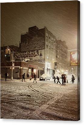 City Streets Canvas Print - New York - Snow On A City Street by Vivienne Gucwa