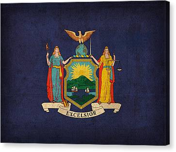 New York State Flag Art On Worn Canvas Canvas Print by Design Turnpike