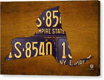 Albany Canvas Print - New York State License Plate Map - Empire State Orange Edition by Design Turnpike