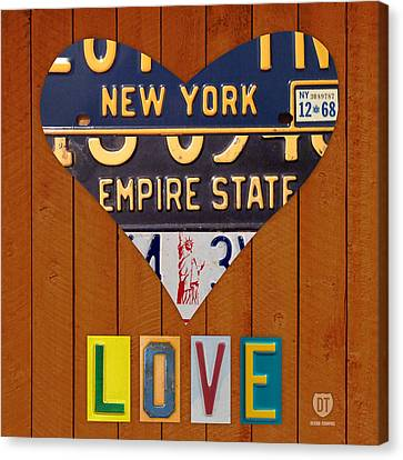 New York State Love Heart License Plate Art Series On Wood Boards Canvas Print by Design Turnpike
