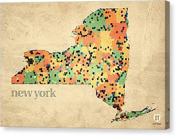 New York State Map Crystalized Counties On Worn Canvas By Design Turnpike Canvas Print by Design Turnpike