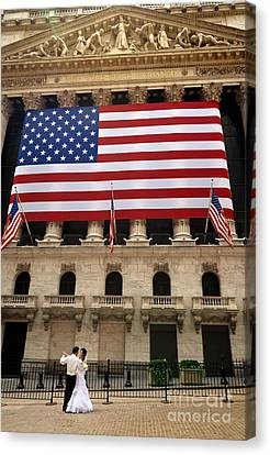Couple Canvas Print - New York Stock Exchange Bride And Groom Dancing by Amy Cicconi