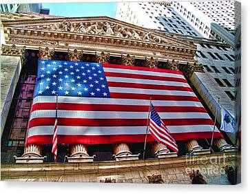 New York Stock Exchange With Us Flag Canvas Print by David Smith