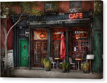 New York - Store - Greenwich Village - Sweet Life Cafe Canvas Print by Mike Savad