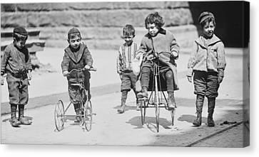 The Bowery Canvas Print - New York Street Kids - 1909 by Daniel Hagerman