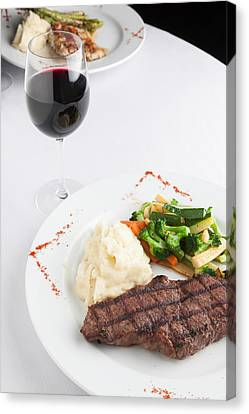 New York Strip Steak With Mashed Potatoes And Mixed Vegetables Canvas Print by Erin Cadigan