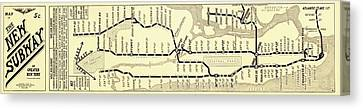 New York Subway Map Canvas Print by Library Of Congress, Geography And Map Division