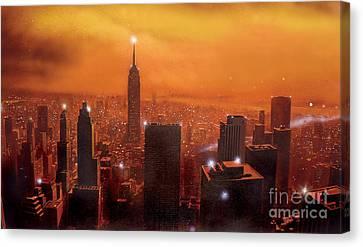 New York Sunset Canvas Print by Steve Crisp