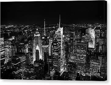 New York Times Square Bw Canvas Print by Matt Malloy