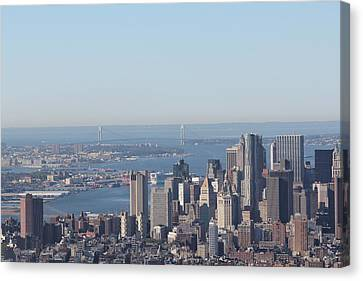 Canvas Print featuring the photograph New York View And Verrazano-narrows Bridge by David Grant