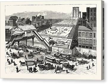 New York View Of The East River Bridge And The Approaches Canvas Print by American School