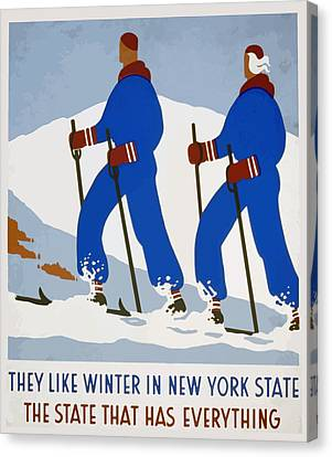 Canvas Print featuring the painting New York Vintage Skiing by American Classic Art