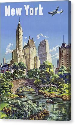 Manhaten Canvas Print - New York Vintage Travel Post by Jamey Scally