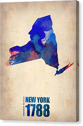New York Watercolor Map Canvas Print by Naxart Studio