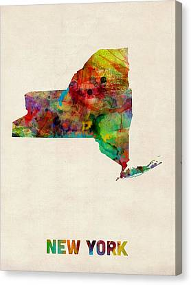 Map Art Canvas Print - New York Watercolor Map by Michael Tompsett