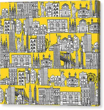 New York Yellow Canvas Print by Sharon Turner