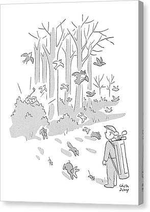 Out Of The Woods Canvas Print - New Yorker April 10th, 1954 by Chon Day