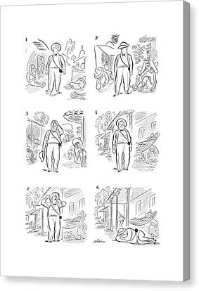 Sweating Canvas Print - New Yorker April 11th, 1942 by  Alain