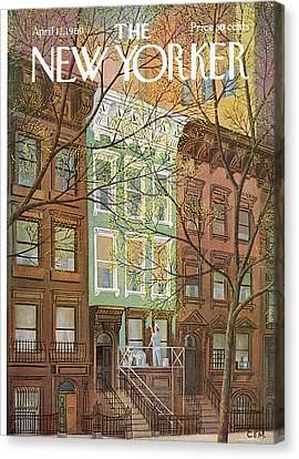 Brownstone Canvas Print - New Yorker April 12th, 1969 by Charles E. Martin