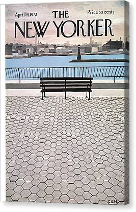 Charles River Canvas Print - New Yorker April 14th, 1973 by Charles E Martin
