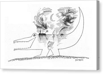 Crocodile Canvas Print - New Yorker April 21st, 1962 by Saul Steinberg
