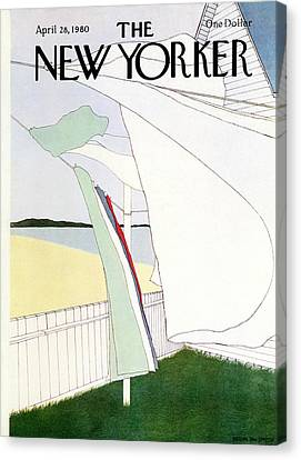 Clothesline Canvas Print - New Yorker April 28th, 1980 by Gretchen Dow Simpson