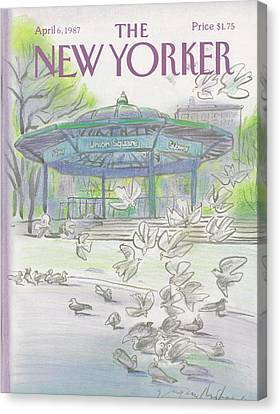 Pigeon Canvas Print - New Yorker April 6th, 1987 by Eugene Mihaesco