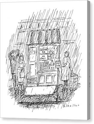 Sidewalk Canvas Print - New Yorker April 6th, 1998 by Barbara Smaller
