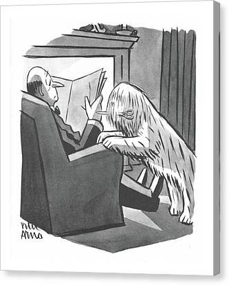 Hairstyle Canvas Print - New Yorker April 8th, 1944 by Peter Arno