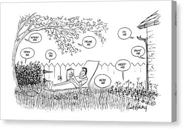 Back Yard Canvas Print - New Yorker August 12th, 1974 by Mort Gerberg