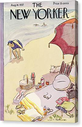 New Yorker August 14th, 1937 Canvas Print by Helen E. Hokinson