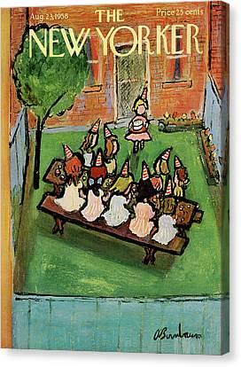Gathering Canvas Print - New Yorker August 23rd, 1958 by Abe Birnbaum