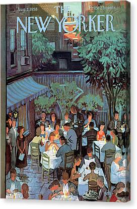 Eat Canvas Print - New Yorker August 2nd, 1958 by Arthur Getz