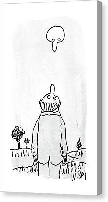 Man Looking Down Canvas Print - New Yorker August 3rd, 1987 by William Steig