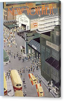 Staten Island Ferry Canvas Print - New Yorker August 5th, 1950 by Charles E. Martin