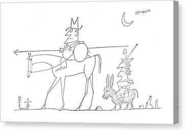 Chivalrous Canvas Print - New Yorker August 6th, 1960 by Saul Steinberg