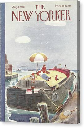 Sun Tan Canvas Print - New Yorker August 7th, 1948 by Garrett Price