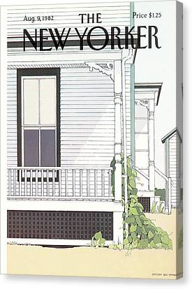 Side Porch Canvas Print - New Yorker August 9th, 1982 by Gretchen Dow Simpson