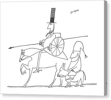 Don Quixote Canvas Print - New Yorker December 12th, 1959 by Saul Steinberg