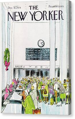 New Yorker December 16th, 1974 Canvas Print by Charles Saxon