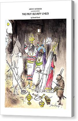 Goat Canvas Print - New Yorker December 21st, 1992 by Ronald Searle