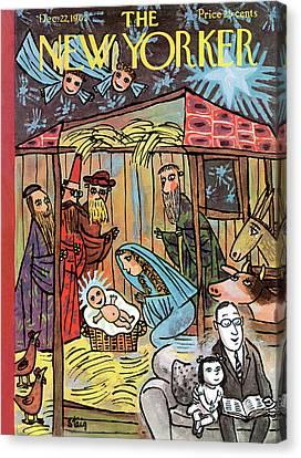Nativity Canvas Print - New Yorker December 22nd, 1962 by William Steig