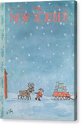 Christmas Eve Canvas Print - New Yorker December 24th, 1966 by William Steig