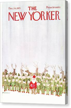 Elves Canvas Print - New Yorker December 24th, 1973 by James Stevenson