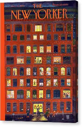 Staten Island Canvas Print - New Yorker December 26th, 1953 by Ilonka Karasz