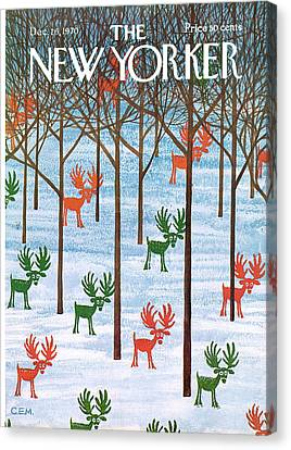 Trees In Snow Canvas Print - New Yorker December 26th, 1970 by Charles E Martin