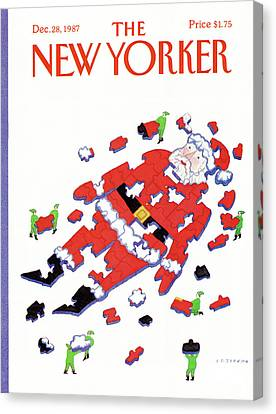 Elves Canvas Print - New Yorker December 28th, 1987 by Lonni Sue Johnson