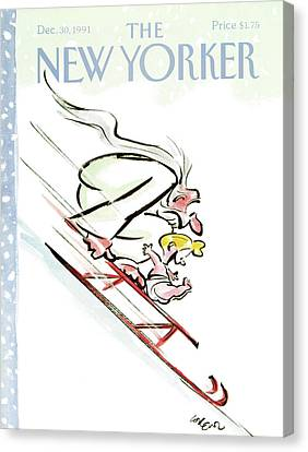 Father Time Canvas Print - New Yorker December 30th, 1991 by Lee Lorenz